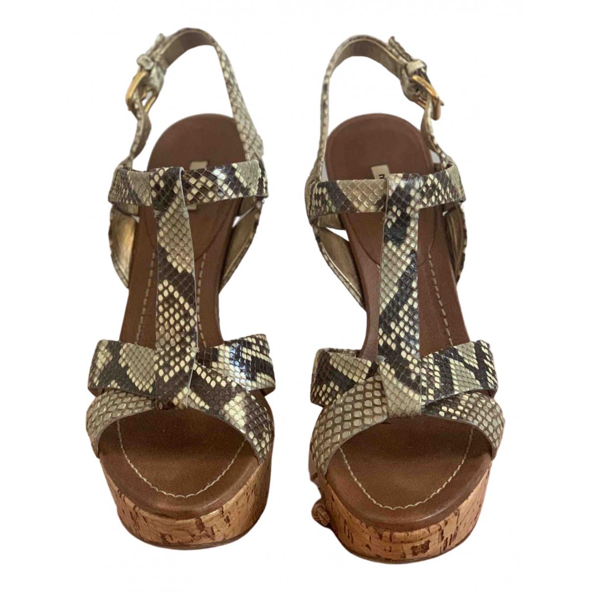 Miu Miu N Brown Fur Sandals for Women 36.5 EU