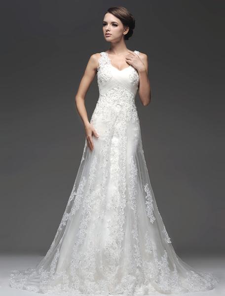 Milanoo Elegant Ivory Sequin Sleeveless A-line Tulle Bridal Wedding Dress