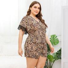 Schlafanzug Set mit Leopard & Paisley Muster