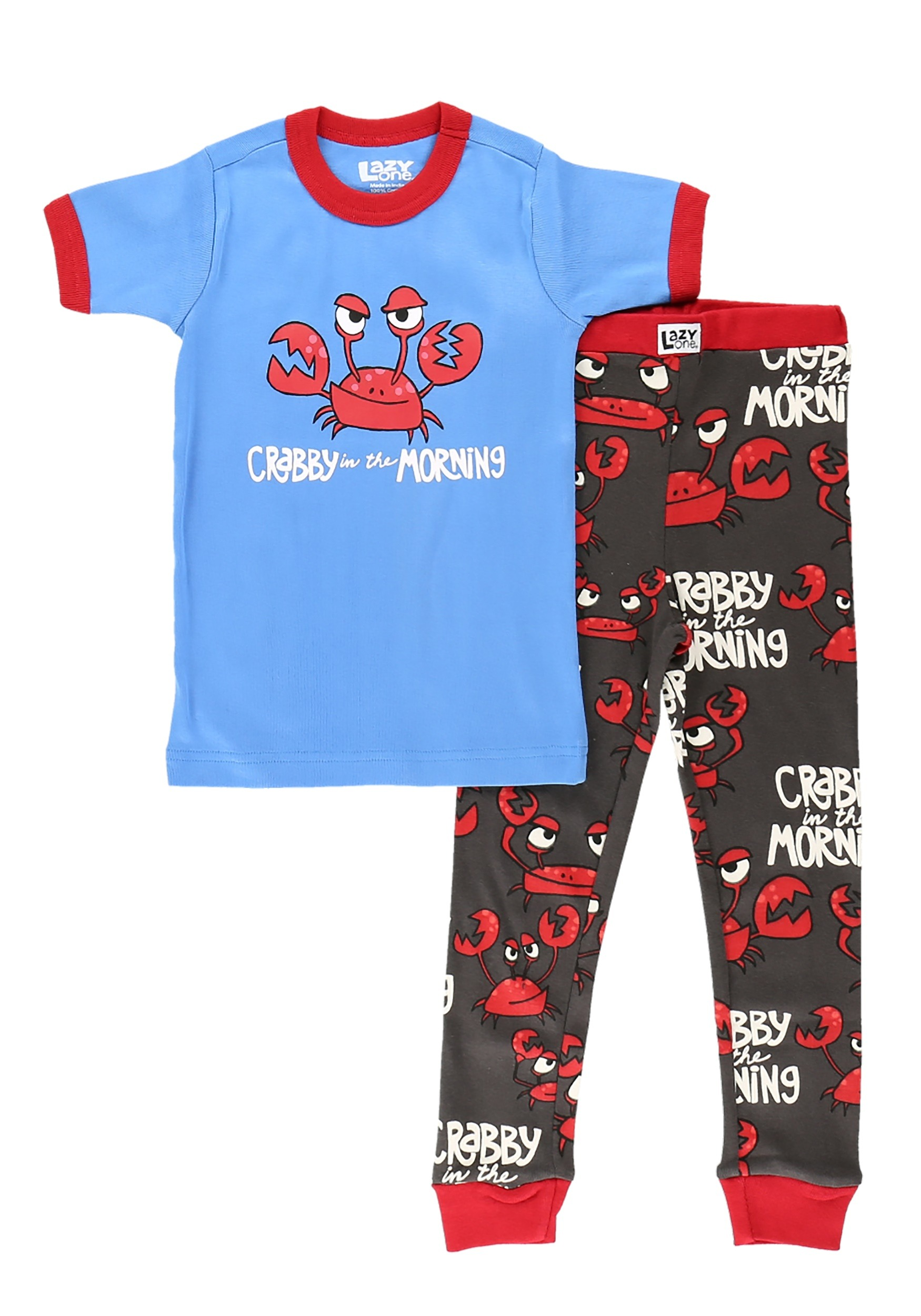 Crabby in the Morning Short Sleeve Pajama Set for Kids