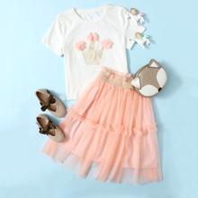 Girls 3D Applique Crown Print Top & Frilled Mesh Skirt Set