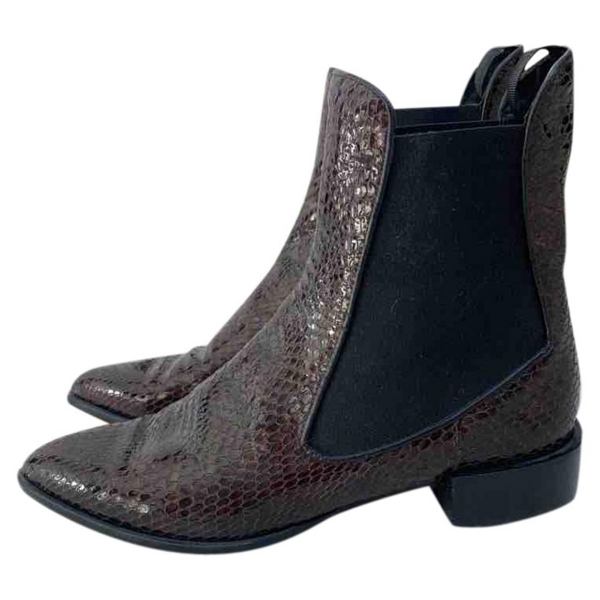 Topshop Unique - Boots   pour femme en cuir - marron