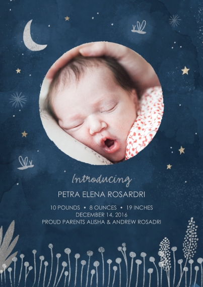 Newborn Flat Glossy Photo Paper Cards with Envelopes, 5x7, Card & Stationery -Starry Introduction