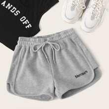 Shorts de cintura con cordon con bordado de letra
