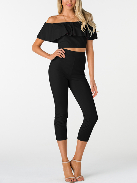 Yoins Black Off-The-Shoulder Ruffle Design Two Piece Outfits