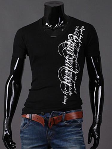Milanoo T-shirt palabras blancas algodon de la impresion diaria de los hombres