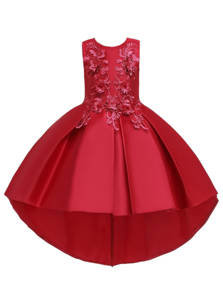 Milanoo Flower Girl Dresses Jewel Neck Polyester Sleeveless With Train Princess Silhouette Bows Formal Kids Pageant Dresses