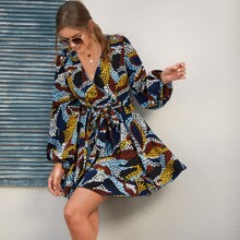 Allover Print V-neck Blouson Sleeve Belted Dress