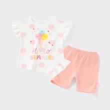 Toddler Girls Cartoon Graphic Ruffle Tee & Shorts