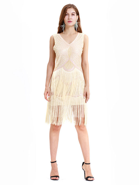 Milanoo 1920s Fashion Style Outfits Flapper Dress Black V Neck Fringe Sequins Great Gatsby Dress Vintage Costumes