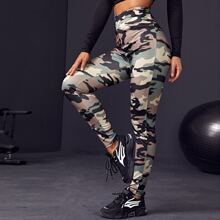 Sports Leggings mit Camo Muster und hoher Taille