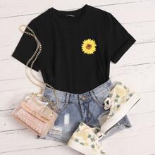 Top mit Sonnenblumen Muster