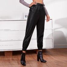 Garment Eyelet Drawstring Waist PU Leather Pants
