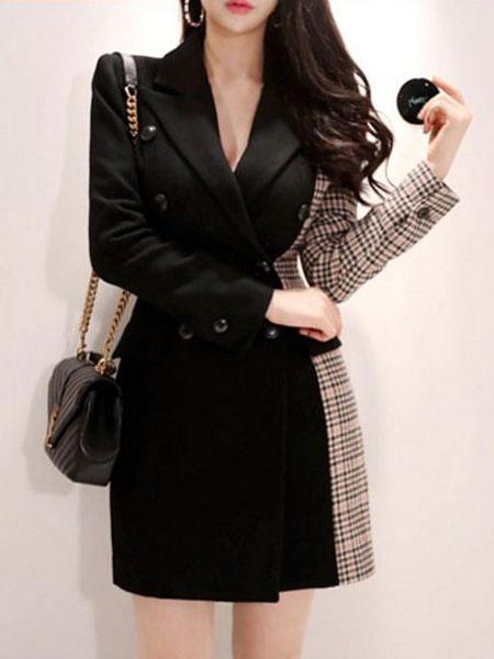 Milanoo Blazers negros de mujer Abrigo a cuadros Chaqueta de dos tonos de lana Blazers
