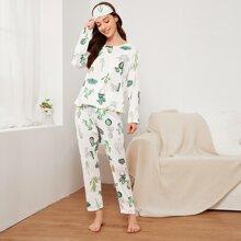Cactus Print Pajama Set With Eye Cover