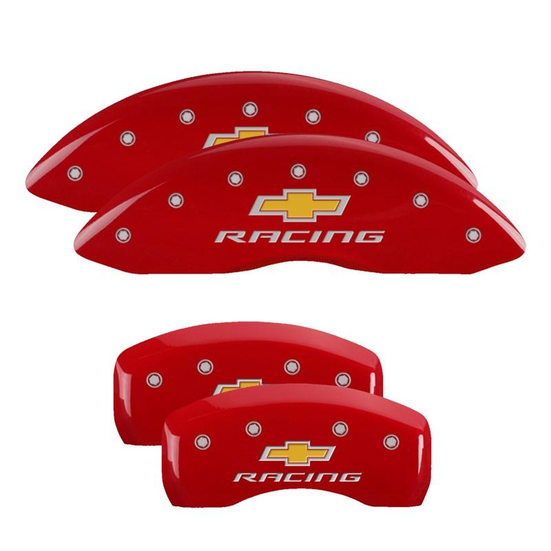 MGP Caliper Covers 14006SBRCRD Set of 4: Red finish, Silver Chevy Racing Chevrolet Impala 2010-2013