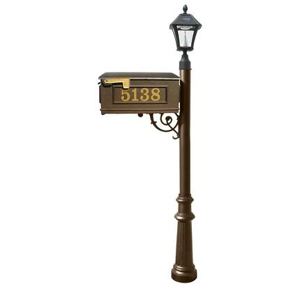 LMCV-800-SL-BZ Mailbox  Post in bronze color  with Vinyl numbers on mailbox  bronze support brace  bronze fluted base  and black Bayview solar