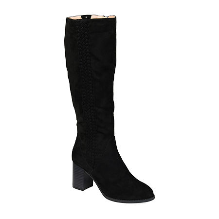 Journee Collection Womens Gentri Boots Stacked Heel Over the Knee, 6 Medium, Black