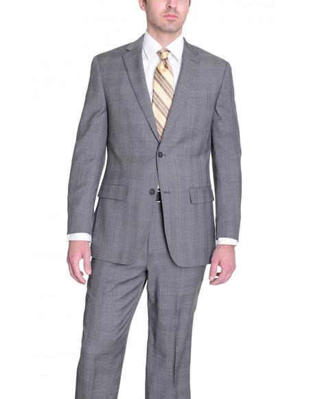 Mens Gray Glen Plaid Wool Classic Fit 2 Button Single Suit