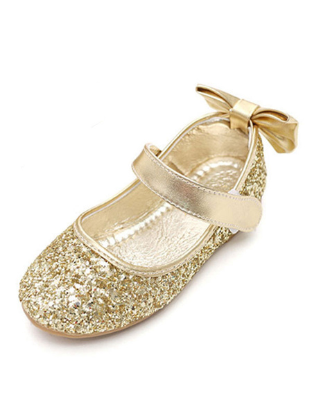 Milanoo Silver Party Shoes Silver Round Toe Bow Wedding Flower Girl Shoes