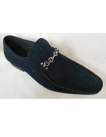 Men's Slip On Navy Chain Link Strap Leather Cap Toe Shoe