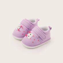 Baby Girl Cartoon Decor Velcro Strap Flats