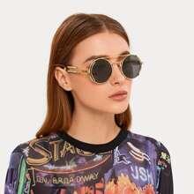 Top Bar Sonnenbrille mit rundem Gestell und Etui