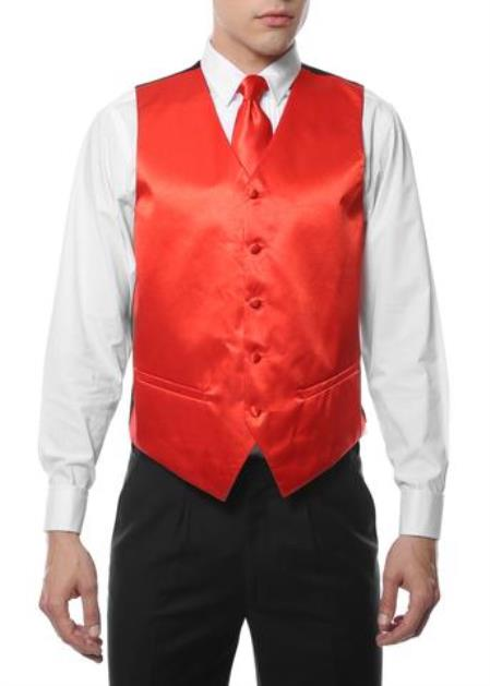 Mens 4PC Big and Tall Vest & Tie & Bow Tie and Hankie Red
