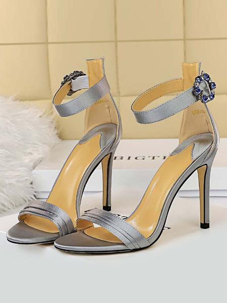 Milanoo High Heel Sandals Womens Rhinestones Buckle Open Toe Ankle Strap Stiletto Heel Sandals