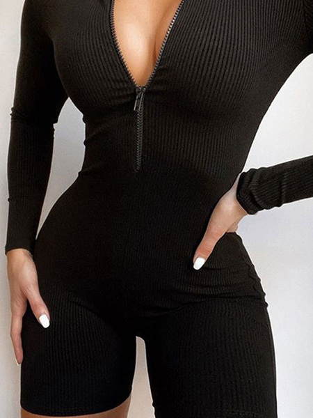 Milanoo Grey Jewel Neck Long Sleeves Zipper Cotton Blend Skinny Summer Playsuit