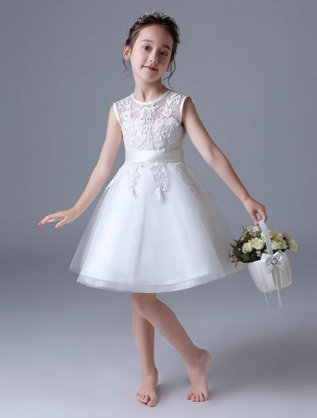 Milanoo Ivory Flower Girl Dresses Lace Sleeveless Sash Knee Length Kids Formal Party Dress