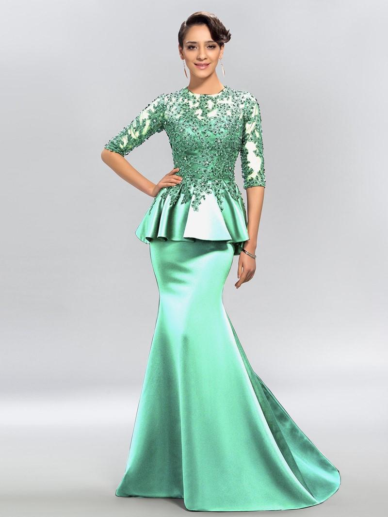 Ericdress Half Long Sleeve Lace Black Mermaid Evening Dress