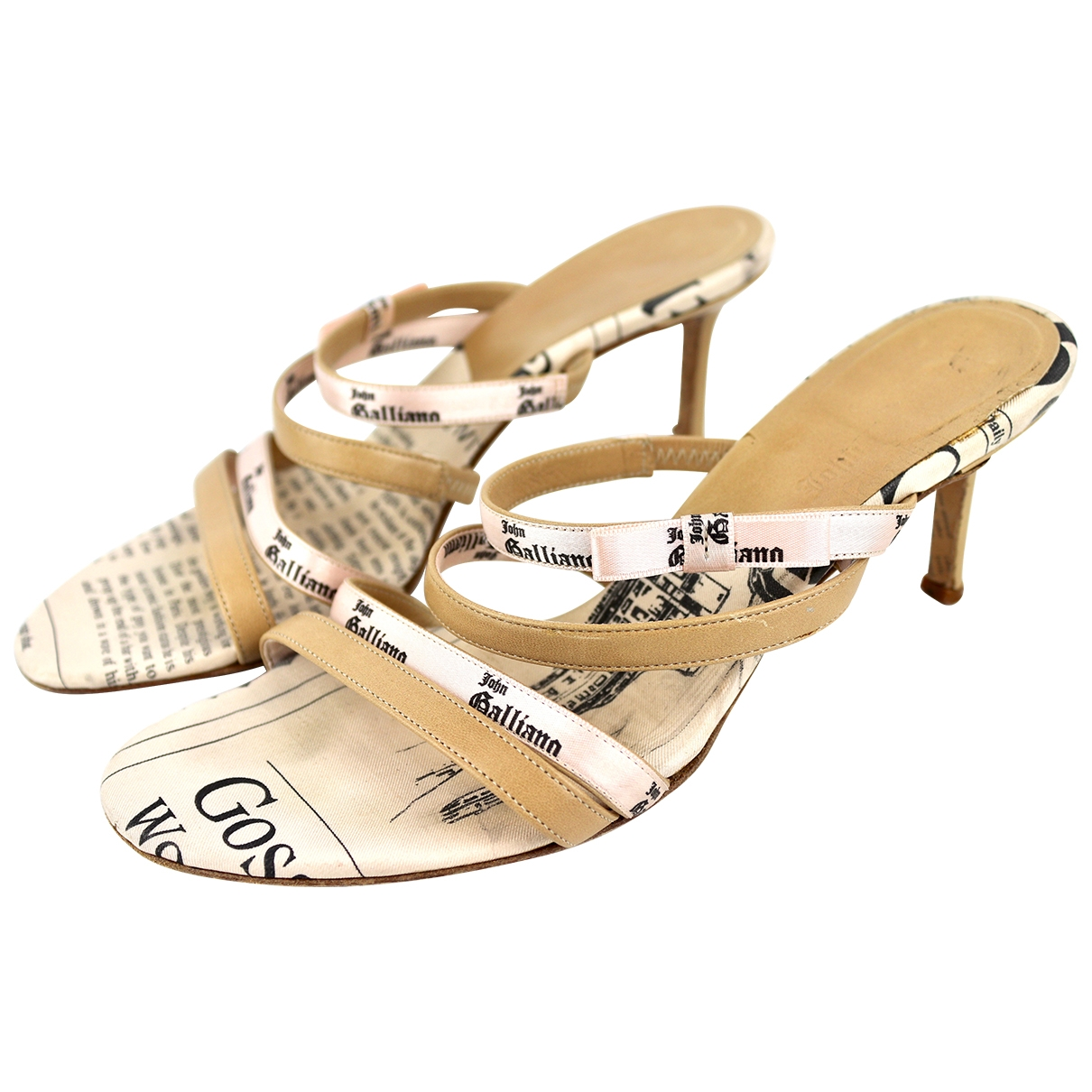 John Galliano \N Beige Leather Sandals for Women 37 EU