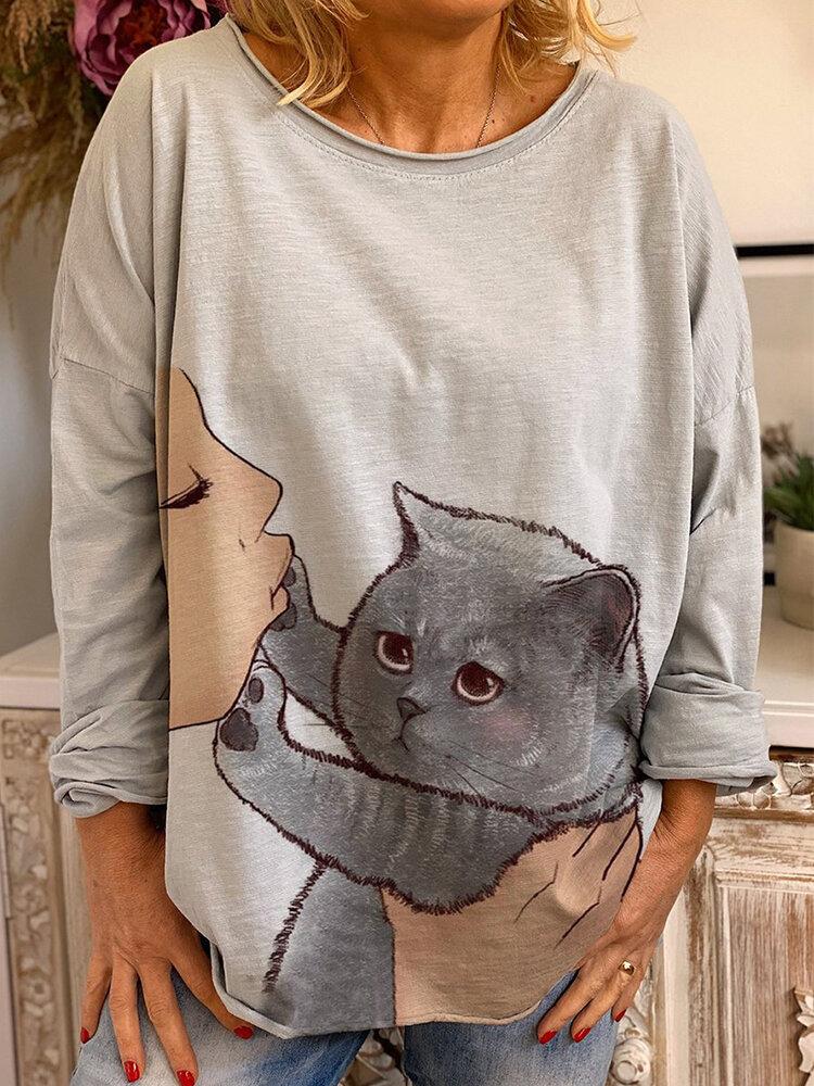Cartoon Cat Print O-neck Long Sleeve Casual Blouse For Women