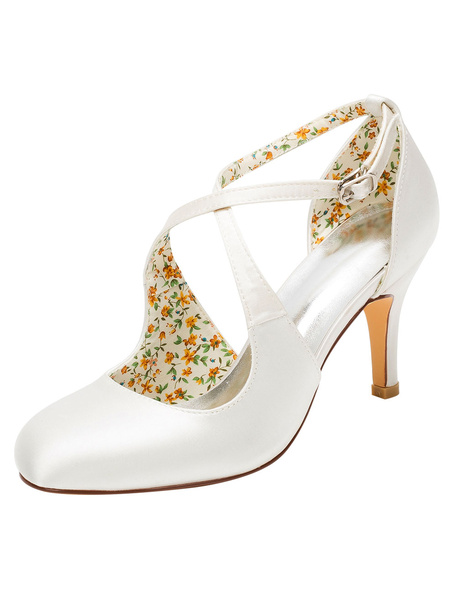 Milanoo Vintage Wedding Shoes High Heel Pumps Ivory Cross Front Ankle Strap Bridal Shoes