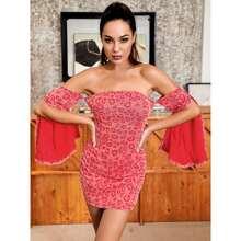 HouseOfChic Off Shoulder Split Sleeve Leopard Dress