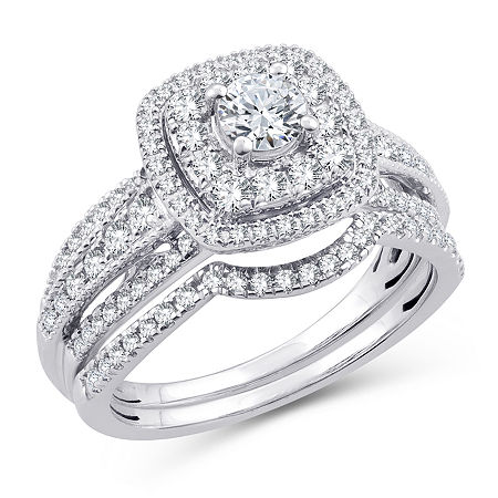 Womens 1 CT. T.W. Genuine White Diamond 10K White Gold Engagement Ring, 7 , No Color Family