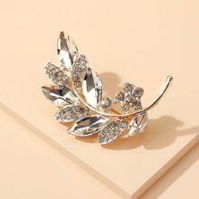 Rhinestone Leaf Design Brooch