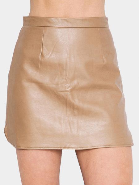 Yoins Light-khaki Leather Side Split Mini skirt