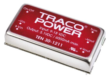 TRACOPOWER TEN 30 30W Isolated DC-DC Converter Through Hole, Voltage in 9 → 18 V dc, Voltage out ±12V dc