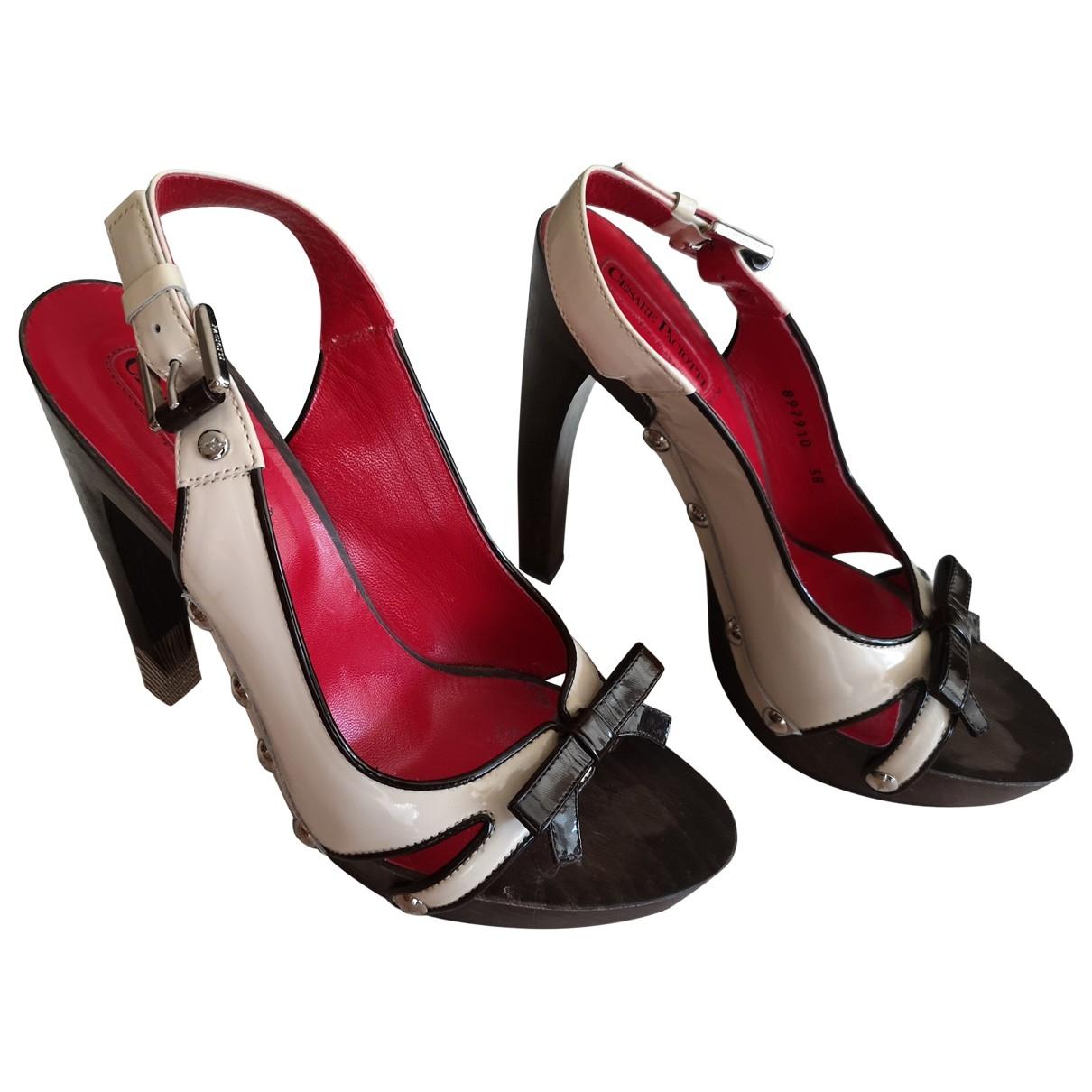 Cesare Paciotti \N Beige Leather Sandals for Women 38 EU