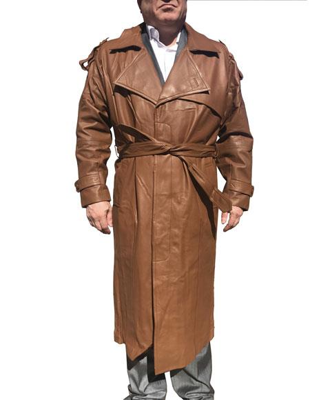 Mens Real Leather Brown Long Trench Coat ~ Overcoat
