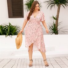 Plus Floral Print Tulip Hem Wrap Tie Side Dress