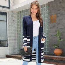 Kate Kasin Open Front Striped Cardigan