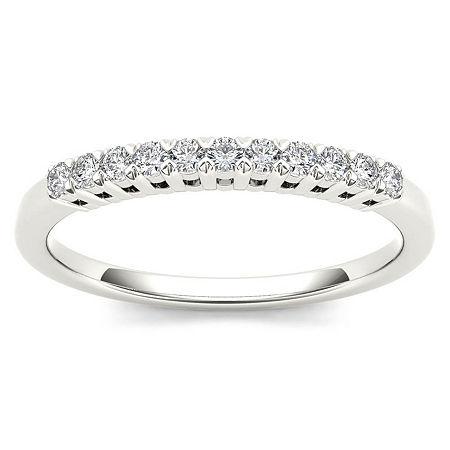 2MM 1/5 CT. T.W. Genuine White Diamond 10K Gold Wedding Band, 6 , Multiple Colors