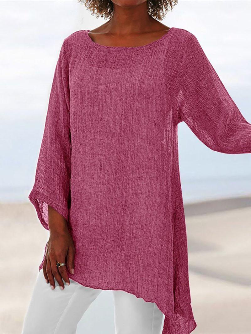 Ericdress Asymmetric Mid-Length Single Casual T-Shirt