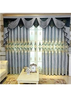 Embroidered Floral Decorative and Blackout Curtains European Style Custom Grommet Curtains for Living Room Bedroom No Pilling No Fading No off-lining