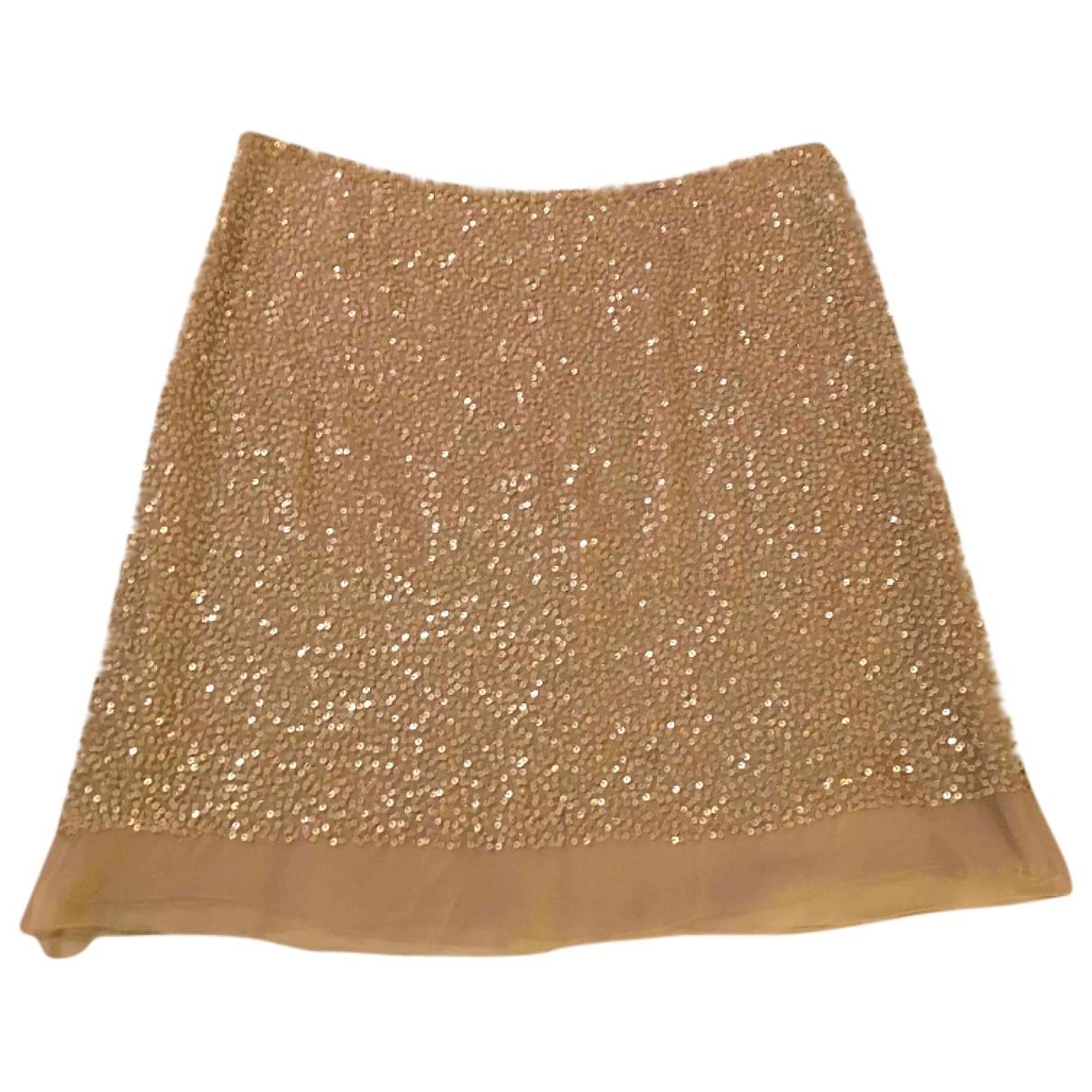 Parosh - Jupe   pour femme en a paillettes - beige