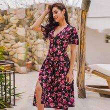 Kleid mit Blumen Muster, V-Kragen und Schlitz