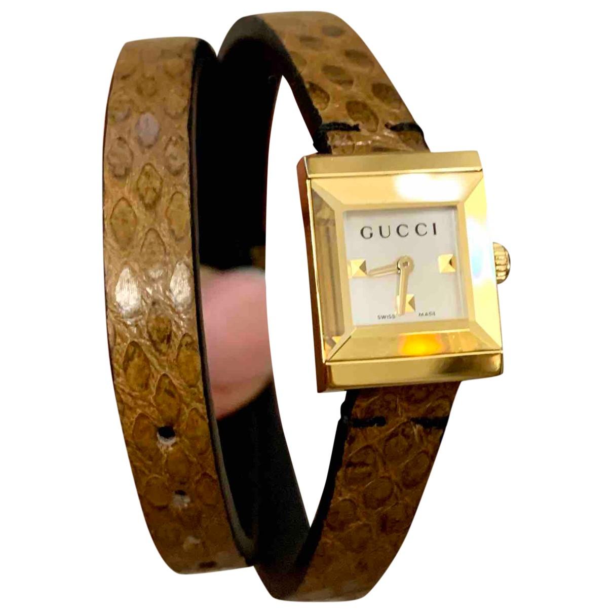 Gucci - Montre   pour femme en plaque or - marron